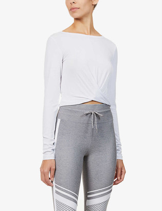 Lorna Jane Flawless knot-detail cropped stretch-jersey top