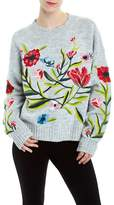 Romeo & Juliet Couture Ribbed Crew Neck Floral Sweater