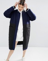 Asos Wool Parka With Quilted Panel