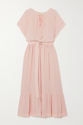 MICHAEL Michael Kors Belted Tiered Gauze Midi Dress - Blush