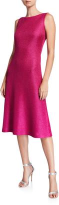 St. John Bateau-Neck Sleeveless Textured Metallic Inlay Knit Dress