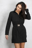 Rare Black Hardware Buckle Shirt Dress