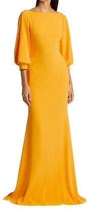 Badgley Mischka Odessa Crepe Balloon-Sleeve Gown