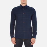 Folk Checked Long Sleeve Shirt Navy Window Pane