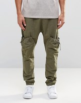 Asos Drop Crotch Joggers In Linen With Cargo Pockets In Khaki