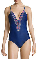 Design Lab Lord & Taylor St-Tropez Embroidered Keyhole Swimsuit
