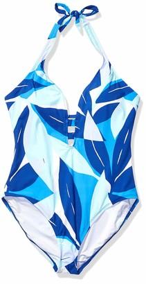 La Blanca Women's Wide Strap V-Neck Halter Mio One Piece Swimsuit