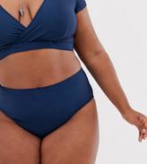 Peek & Beau Curve Exclusive high waist bikini bottom in navy shimmer