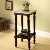 Venetian Worldwide Santa Clarita Square Stand with Marble Top in Dark Cherry