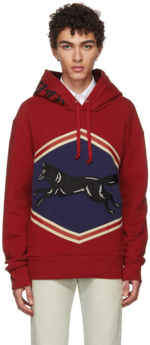 Gucci Red Jumping Wolf Hoodie
