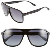 Gucci Men's 59Mm Aviator Sunglasses - Shiny Black/ Grey Gradient