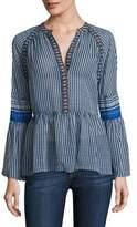 BCBGMAXAZRIA Striped Silk V-neck Peasant Blouse