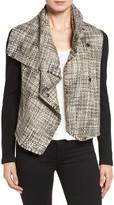 Anne Klein Mixed Media Drape Front Jacket