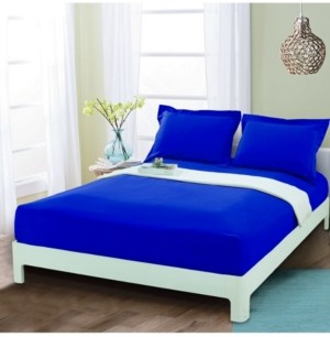 Elegant Comfort Silky Soft Single Fitted Sheet Queen Royal Blue Bedding