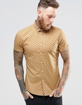 Asos Skinny Shirt With Polka Dot In Camel With Short Sleeves