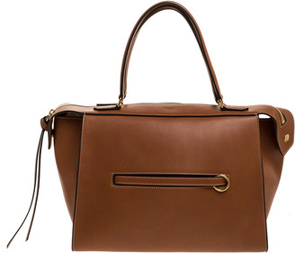 Celine Tan Leather Small Ring Satchel
