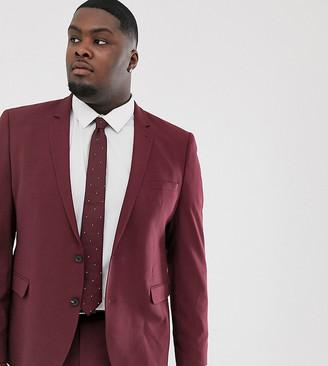 ASOS DESIGN Plus skinny suit jacket in burgundy