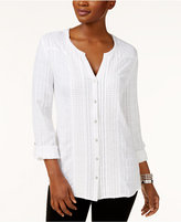 JM Collection Tab-Sleeve Mixed-Media Blouse, Only at Macy's