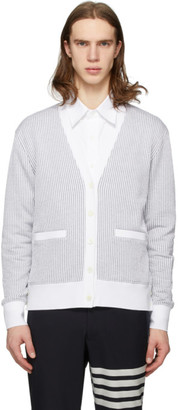 Thom Browne Grey and White Seersucker Stripe Cardigan