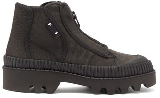 Proenza Schouler Zip-up Rubber And Canvas Boots - Womens - Black
