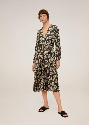 MANGO Midi printed dress black - 2 - Women