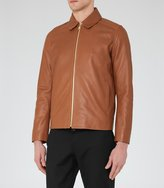 Reiss Dauphine - Collared Leather Jacket in Brown, Mens