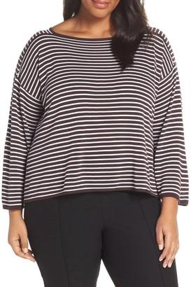 Eileen Fisher Stripe Tencel(R) Lyocell & Silk Top (Plus Size)