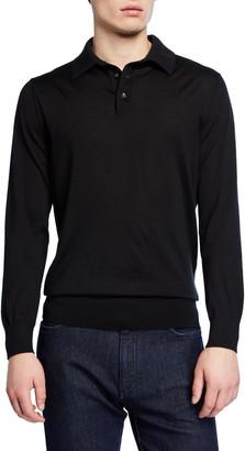Ermenegildo Zegna Men's Cashmere Long-Sleeve Polo Shirt