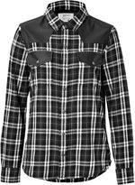 Current/Elliott Cotton Plaid and Leather Shirt