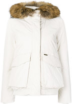Woolrich hooded puffer jacket - women - Feather Down/Polyamide/Polyester/Racoon Fur - S