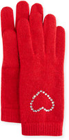 Portolano Crystal-Cuff Wool-Blend Gloves, Poppy Red