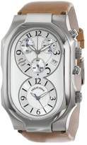 Philip Stein Teslar Men's 3-CRSIL-CIC Signature Silver Dial Chronograph Camel Italian Calf Strap Watch