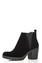 Quiz Black Faux Suede Chunky Heel Ankle Boots