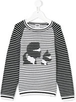 Karl Lagerfeld striped and Choupette top - kids - Cotton/Polyamide/Wool - 6 yrs