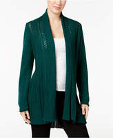 NY Collection Textured Open-Front Cardigan
