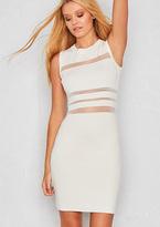 Missy Empire Olita White Knit Mesh Panel Bodycon Dress