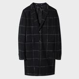 Paul Smith Men's Black Windowpane-Check Wool-Blend Overcoat