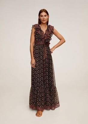 MANGO Ruffled printed dress black - 2 - Women