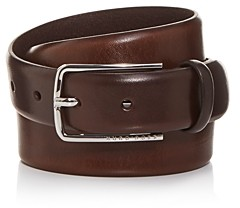 HUGO BOSS Men's Jor Woven Print Leather Belt