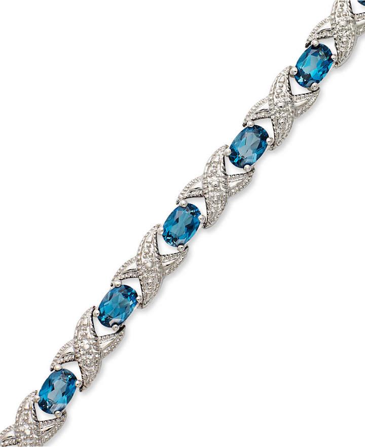 Macy's London Blue Topaz (7-1/2 ct. t.w.) and Diamond Accent XO Bracelet in Sterling Silver