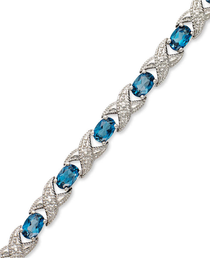 Macy's London Blue Topaz (7-1/2 ct. t.w.) and Diamond Accent XO Bracelet in Sterling Silver