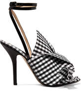 No.21 No. 21 - Knotted Gingham Twill And Leather Sandals - Black
