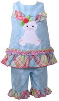 Bonnie Jean Toddler Girl Seersucker Bunny Dress & Ruffled Capri Set