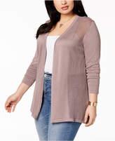 Belldini Plus Size Sheer-Panel Cardigan