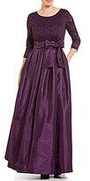Jessica Howard Floral Lace-Bodice Taffeta Ballgown