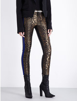 Haider Ackermann Skinny jacquard and leather trousers
