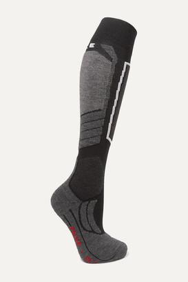 FALKE ERGONOMIC SPORT SYSTEM Sk2 Intarsia Wool-blend Ski Socks - Black