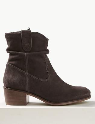 Marks and Spencer Suede Slouch Western Block Heel Ankle Boots