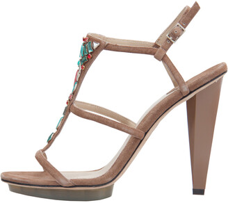 Brian Atwood Brown Suede Donasa Crystal T Strap Sandals Size 38