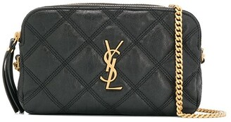 Saint Laurent Becky quilted double-zip pouch